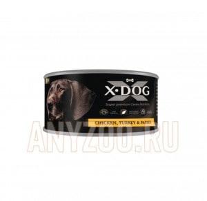 фото X-Dog Икс-Дог Консервы для собак  Цыплёнок с индейкой и папайей