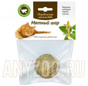 Деревенские лакомства Мятный шар игрушка-лакомство из кошачьей мяты для кошек