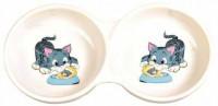 фото Trixie Миска для кошек двойная с надписью белая керамика 2х0,15л*ф11см