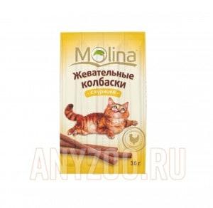 фото Molina Молина Лакомство для кошек Жевательные колбаски с курицей