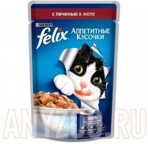 Купить Felix Аппетитные кусочки Пауч для кошек Печень в желе