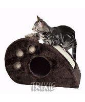 """фото Trixiе  домик д/кошек """"Topi"""" с когтеточкой, серый, плюш 53*31*32см"""