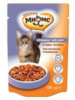 Купить Мнямс паучи для взрослых кошек с ягненком в  соусе Чувствительное пищеварение