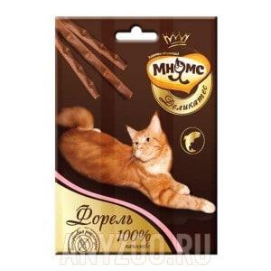 Мнямс Деликатес Лакомые палочки с форелью для кошек 9см