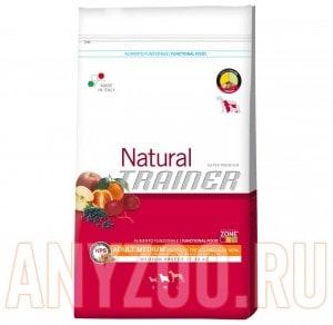 Купить Trainer Natural Adult Medium Polo Riso Aloe vera Сухой корм для собак средних пород Курица/рис/Алоэ