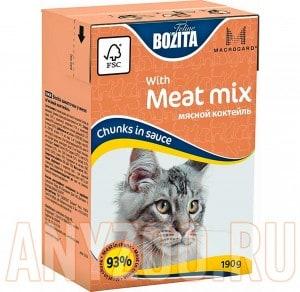 Купить Bozita Mini Tetra Pak д/кошек кусочки в соусе Мясной Микс