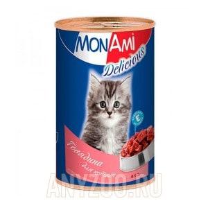 МонАми Delicious Консервы для котят Паштет с говядиной