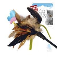 фото GiGwi Дразнилка для кошек с бабочкой, натуральные некрашеные перья