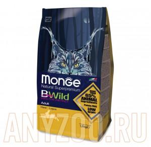 Купить Monge Bwild Cat Hare Монж Бивайл  Сухой корм для взрослых кошек с мясом зайца