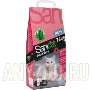 фото Sanicat 7 days Aloe Vera наполнитель впитывающий с ароматом Алое Вера
