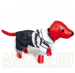 фото Dezzie Свитер для собак вязаный с капюшоном+синие джинсовые шорты