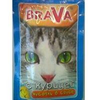 Брава консервы для кошек курица  (паучи)