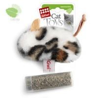 фото GiGwi Игрушка для кошек Мышь с пластиковым контейнером кошачей мяты