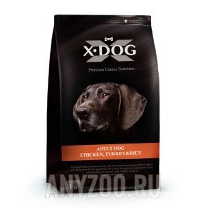 Купить X-Dog Adult Dog Икс-дог сухой корм для взрослых собак курица с индейкой