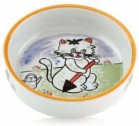 фото I.P.T.S. 651030 Миска для кошек фарфоровая с изображением кошки 300мл*13см