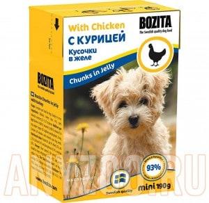 Купить Bozita Mini Tetra Recart Бозита Кусочки в желе для щенков и взрослых собак с Курицей