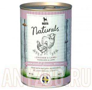Купить Bozita Naturals Chicken&Lamb консервы для собак мясной паштет с Курицей и ягненком