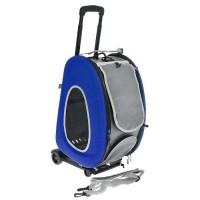 Ibiyaya - Ибияя складная сумка-тележка для собак до 8 кг 3 в 1 (сумка,рюкзак,тележка) синяя