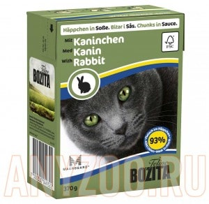 Купить Bozita Tetra Pak консервы д/кошек Кусочки в соусе Кролик