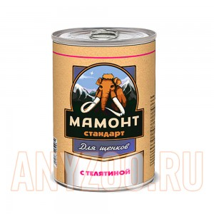 Мамонт Стандарт Телятина консервы для щенков жестяная банка