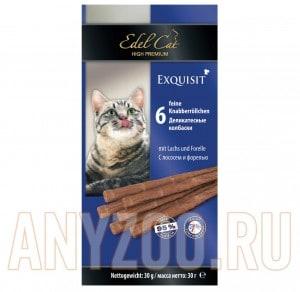 фото Edel Cat- Эдель Кэт Лакомство для кошек Колбаски лосось/форель