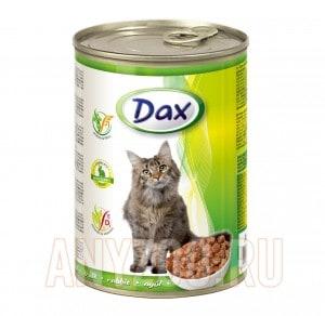 Dax Дакс консервированный корм для взрослых кошек кусочки в соусе с кроликом