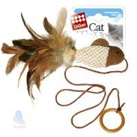 фото GiGwi Игрушка для кошек Рыбка дразнилка на палец с кольцом