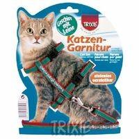 фото Trixiе 4191 шлейка д/кошек с вышивкой и поводком, нейлон 22-36см*10мм