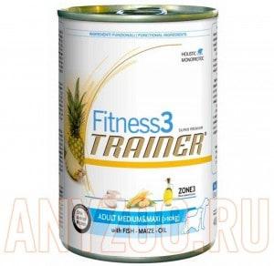 фото Trainer Fitness 3 Adult Medium/Maxi Fish&Maize Консервы для собак средних и крупных пород Рыба