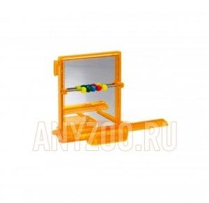 фото Beeztees 010220 Зеркало для птиц с жердочкой и счетами, пластик 7*9см