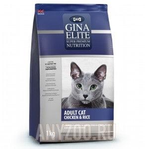 Купить Gina Elite Cat Chicken & Rice сухой корм для взрослых кошек с цыпленком и рисом  UK