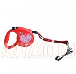фото Flexi Standart рулетка для собак размер S (до 12 кг) 5 м трос с дизайном Сердце