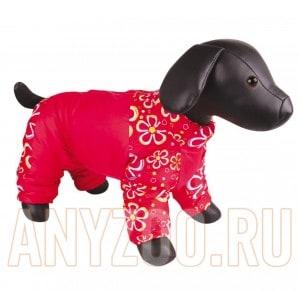 фото Dezzie Комбинезон для собак породы Шпиц, красный с цветами, девочка, болонья 5635491