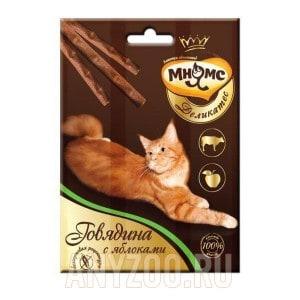 Мнямс Деликатес Лакомые палочки с говядиной и яблоком для кошек 9см
