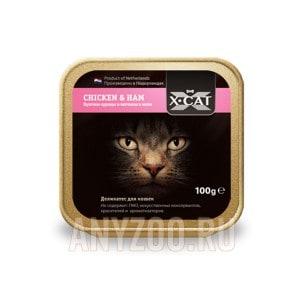 Купить X·Cat Икс-кет консервы для кошек кусочки курицы и ветчины в желе