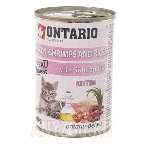 Ontario konzerva Kitten Chicken, Schrimps, Rice, Salmon Oil