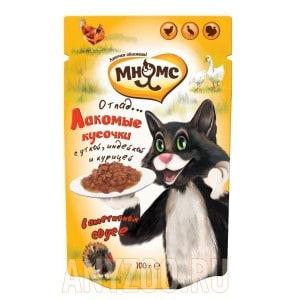 Купить Мнямс Мясной карнавал пауч для взрослых кошек Утка, индейка, курица