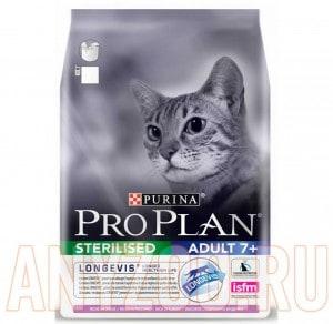 фото Pro Plan Sterilised +7 Про План сухой корм для пожилых стерилизованных/кастрированных кошек/котов