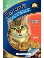 Ночной охотник консервы для кошек кролик с сердцем в желе