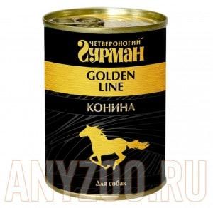 Четвероногий Гурман Голден консервы для собак конина натуральная в желе