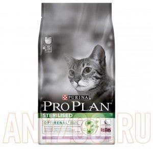 фото Pro Plan Sterilised Про План сухой корм для стерилизованных и кастрированных кошек и котов Индейка