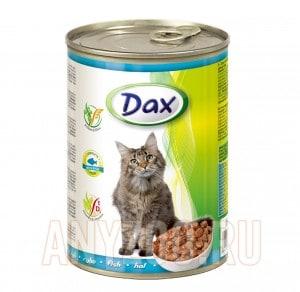 Dax Дакс консервированный корм для взрослых кошек кусочки в соусе с рыбой