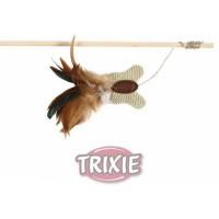 """фото Trixiе игрушка д/кошек """"Удочка с бабочкой"""", текстиль/перья 45см"""