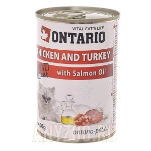 Ontario konzerva Chicken, Turkey,Salmon Oil