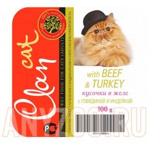 фото Clan Консервы для взрослых кошек кусочки в желе с говядиной и индейкой