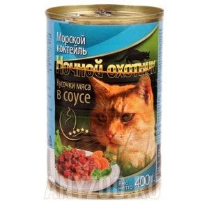 Ночной охотник консервы для кошек морской коктейль в соусе