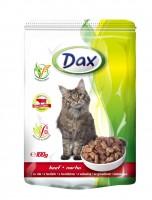 Dax полнорационный консервированный корм для взрослых кошек кусочки в соусе с говядиной