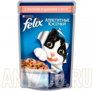 Купить Felix Аппетитные кусочки Пауч для кошек Лосось с цуккини желе