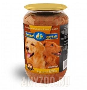 фото Верные друзья - консервы для собак курица  стекло