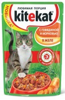 фото KiteKat - Китикет для кошек пауч Говядина и морковь в желе